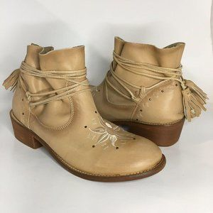 Musse & Cloud Kylie Beige Embroidered Ankle Boots